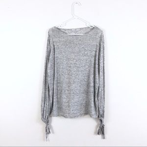Zara Knit Heathered Gray Bow Tie Oversized Tunic